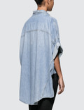 R13 Patti Oversized Short Sleeve Shirt Blue Women