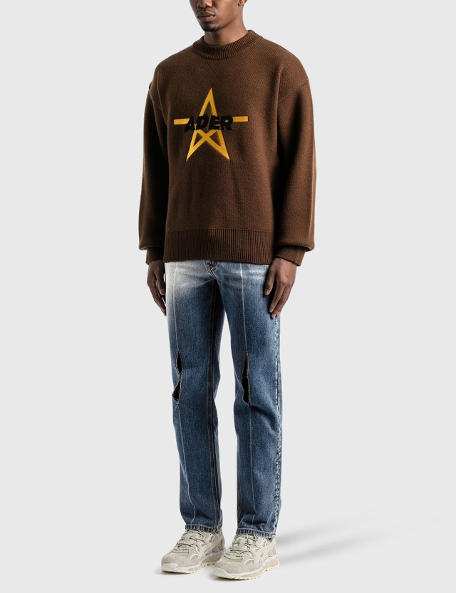 Ader Error Aspect Knitted Sweater Brown Men