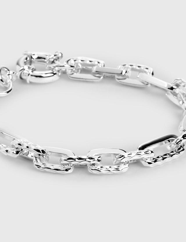 F+H Ramones Hammered Chain Bracelet Brass + Sterling Silver Women