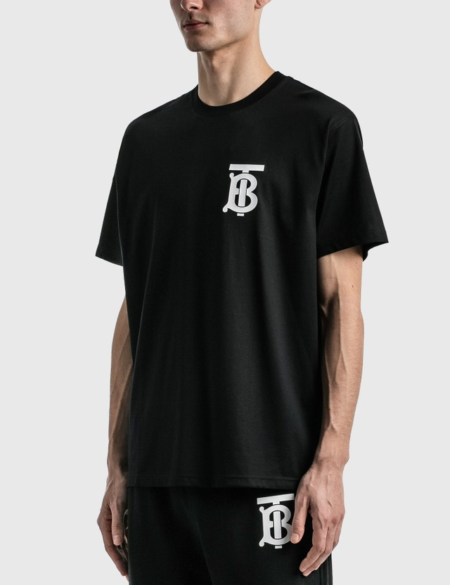 Burberry Monogram Motif Cotton Oversized T-shirt Black Men