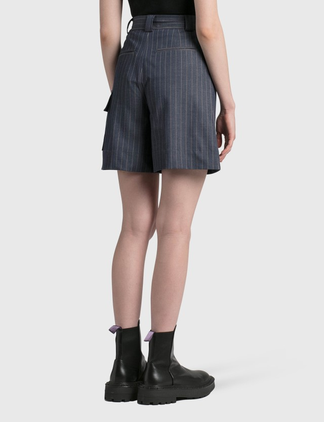Ganni Stretch Stripe Shorts Dress Blues Women