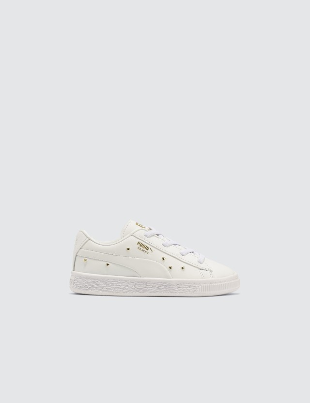 Puma Basket Studs Ac Infants Puma White-puma Team Gold Kids