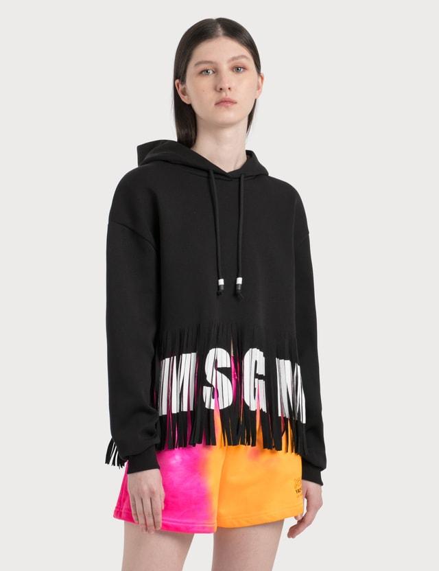 MSGM Logo Ruffles Hoodie Black Women