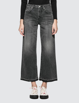 John Elliott Lydia Jet Black Wide Leg Jeans