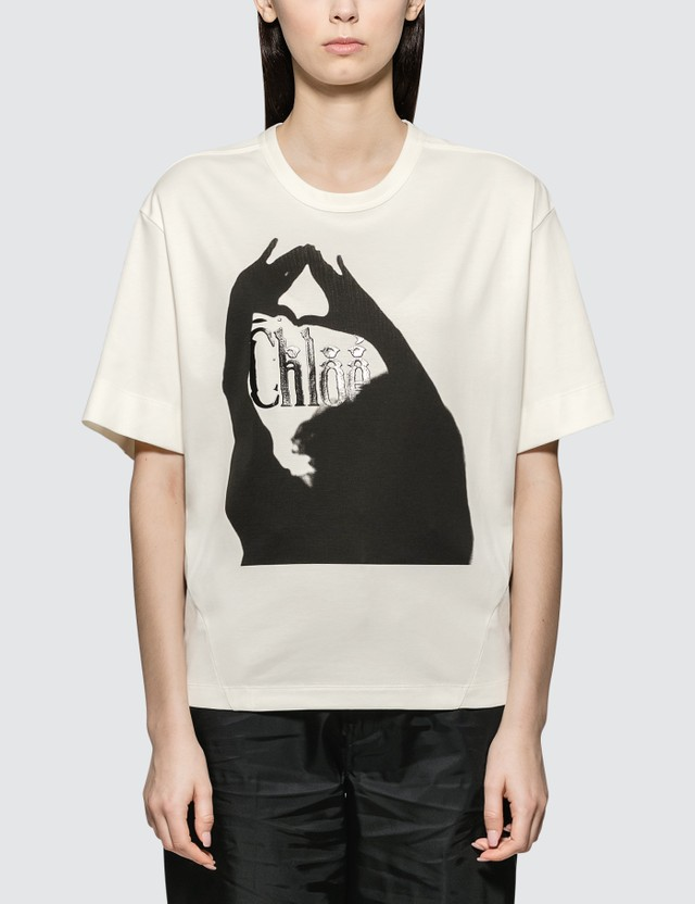 Chloé Oversized Printed Cotton Jersey T-shirt White Women