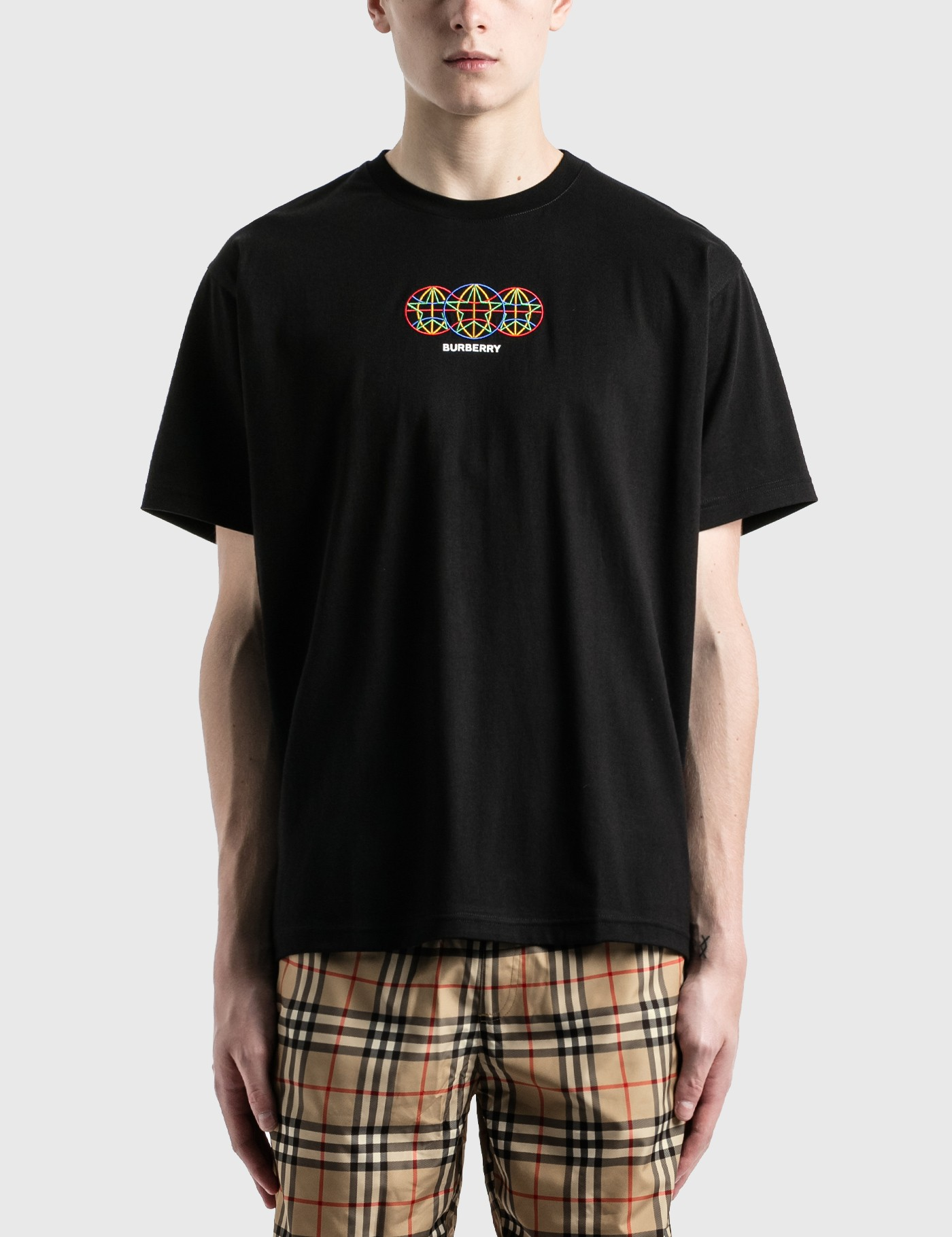 Burberry EMBROIDERED GLOBE GRAPHIC COTTON OVERSIZED T-SHIRT