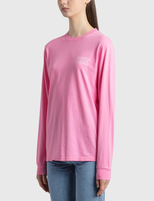 Sporty & Rich Fun Logo Long Sleeve T-Shirt Rose/white Print Women