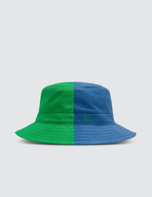 JW Anderson Green & Blue Color-blocked Bucket Hat