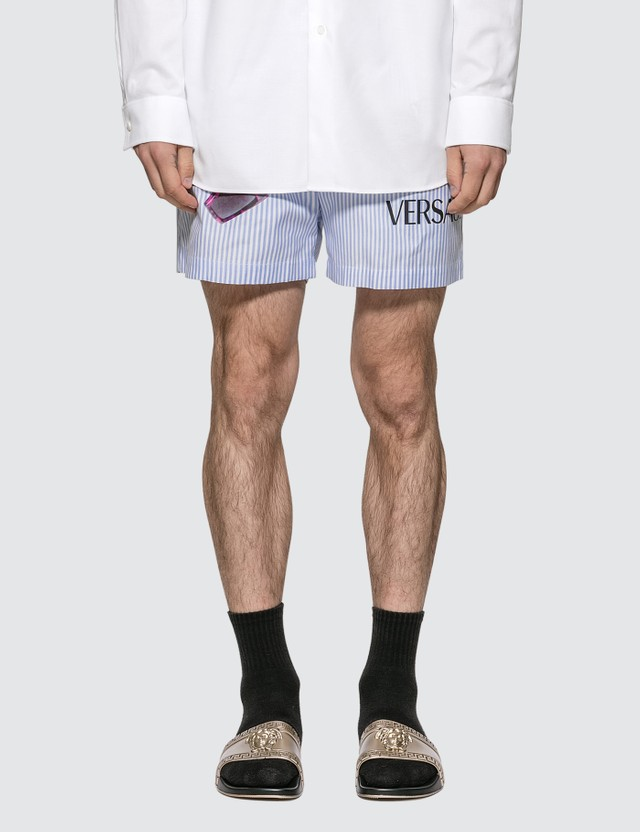 Versace Medusa Biggie Print Cotton Shorts Azzurro Men