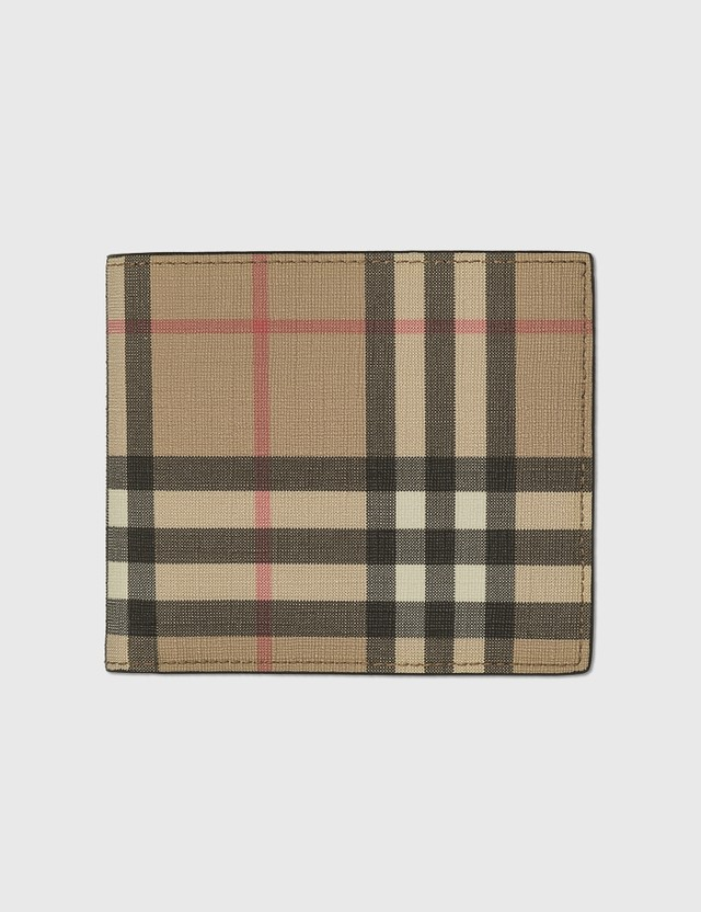 Burberry Vintage Check E-canvas International Bifold Wallet Archive Beige Men