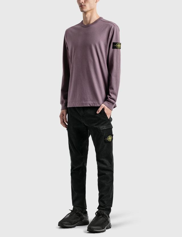 Stone Island Compass Patch Logo Long Sleeve T-Shirt Purple Men