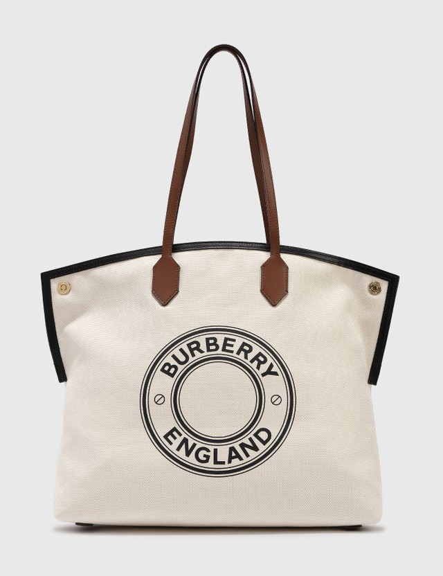 Burberry Large Logo Graphic Cotton Canvas Society Tote Natural Women