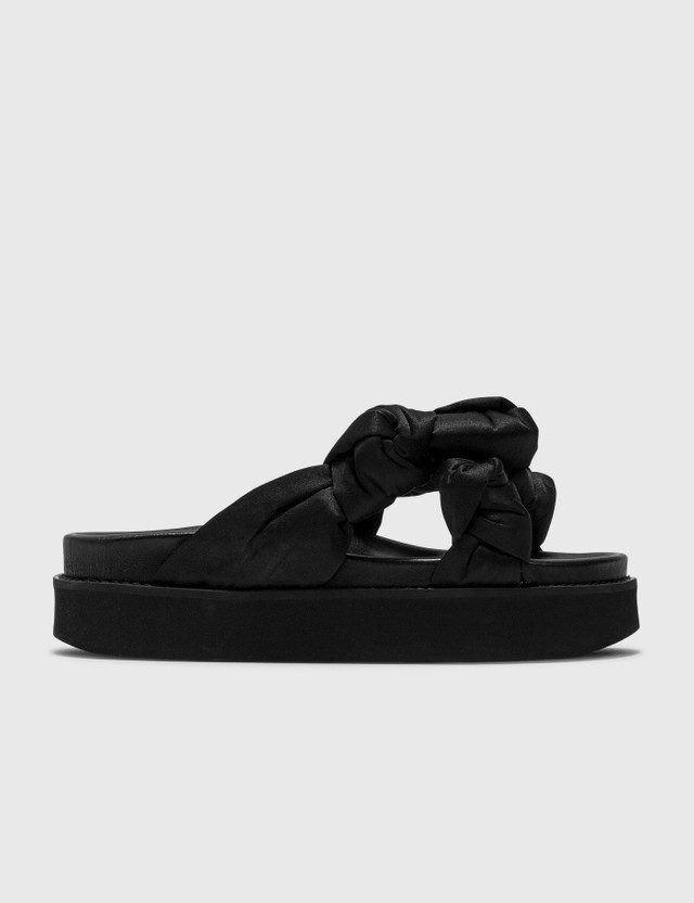 Ganni Recycled Satin Mid Knotted Sandal Black Women
