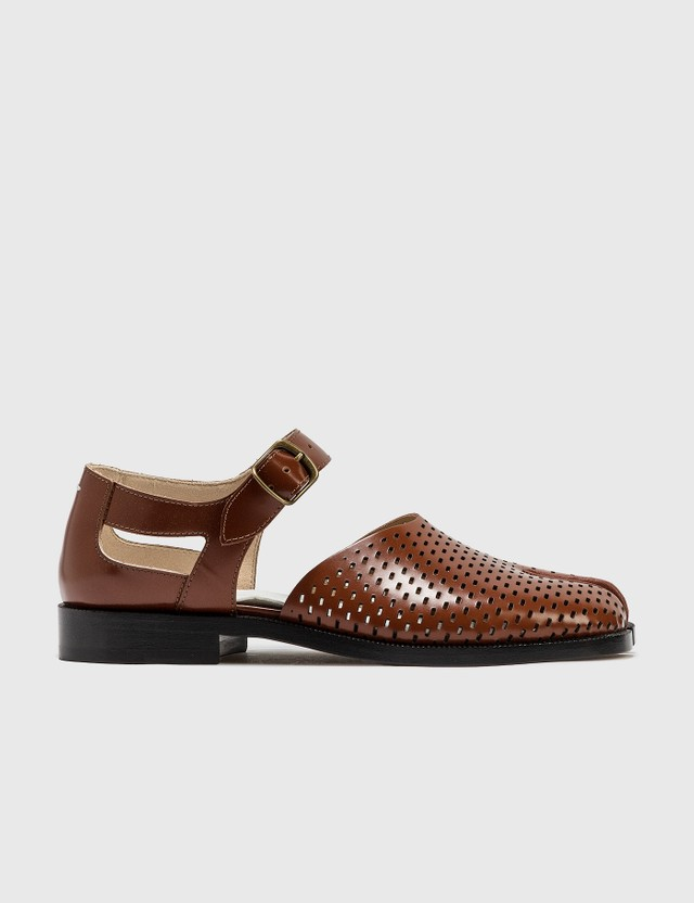 Maison Margiela Perforated Abrasivato Tabi Sandals Sequoia Women