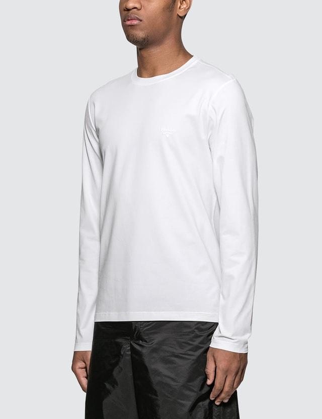 Prada Cotton Stretch Frame Logo Long Sleeve T-Shirt