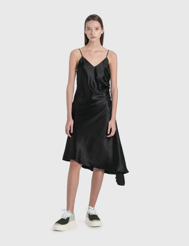 MM6 Maison Margiela Satin Asymmetric Dress Black Women