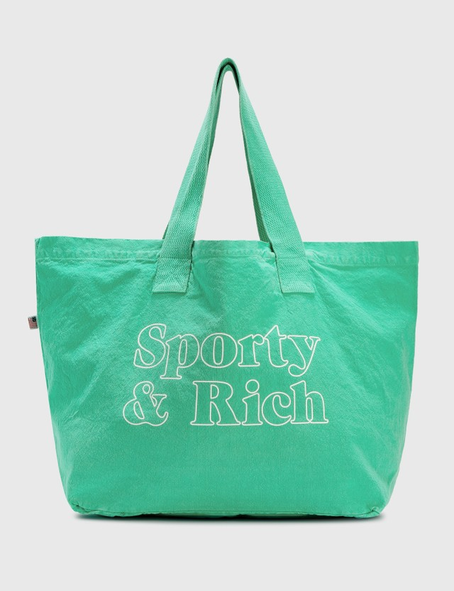 Sporty & Rich Fun Logo Tote Bag Junior Mint/white Print Men
