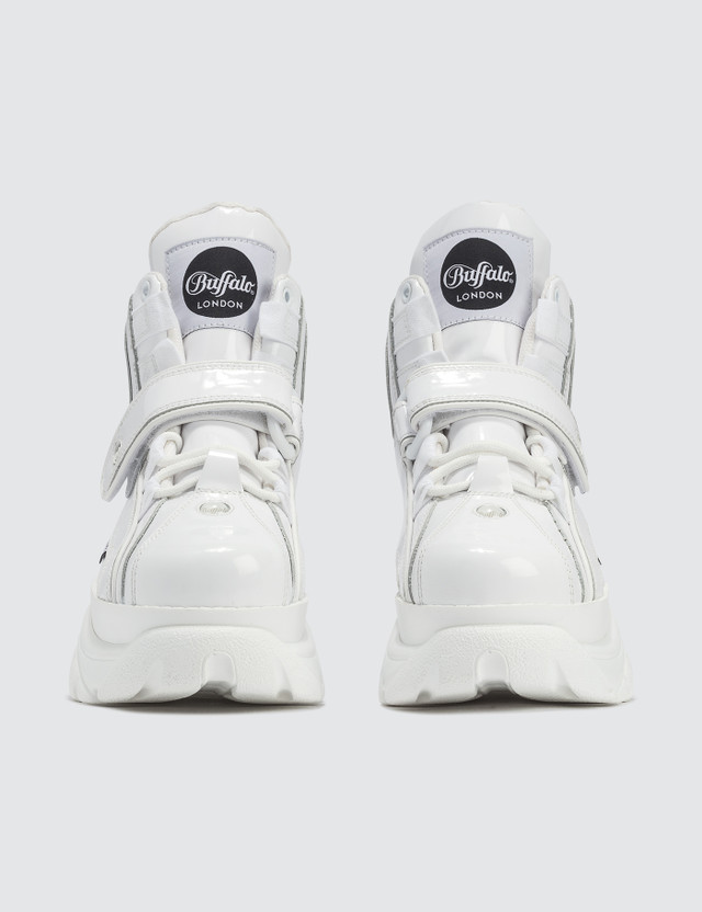 Buffalo London Buffalo Classic White High-top Platform Sneakers in Patent