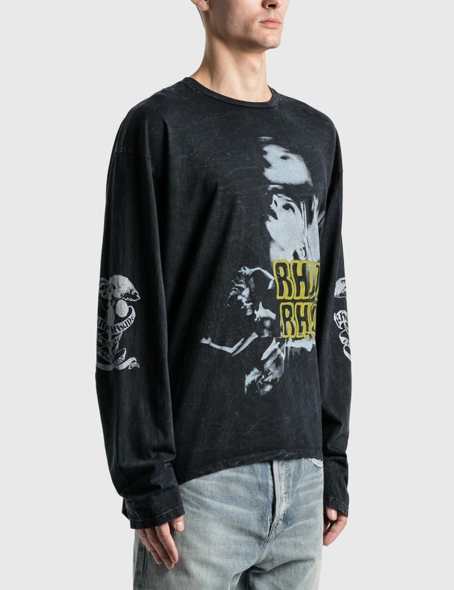 Rhude Face Graphic Long Sleeve T-Shirt Black 0015 Men