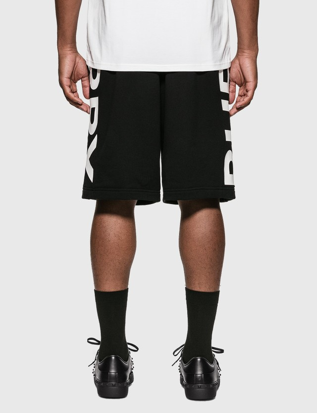 Burberry Logo Print Cotton Drawcord Shorts Black Men