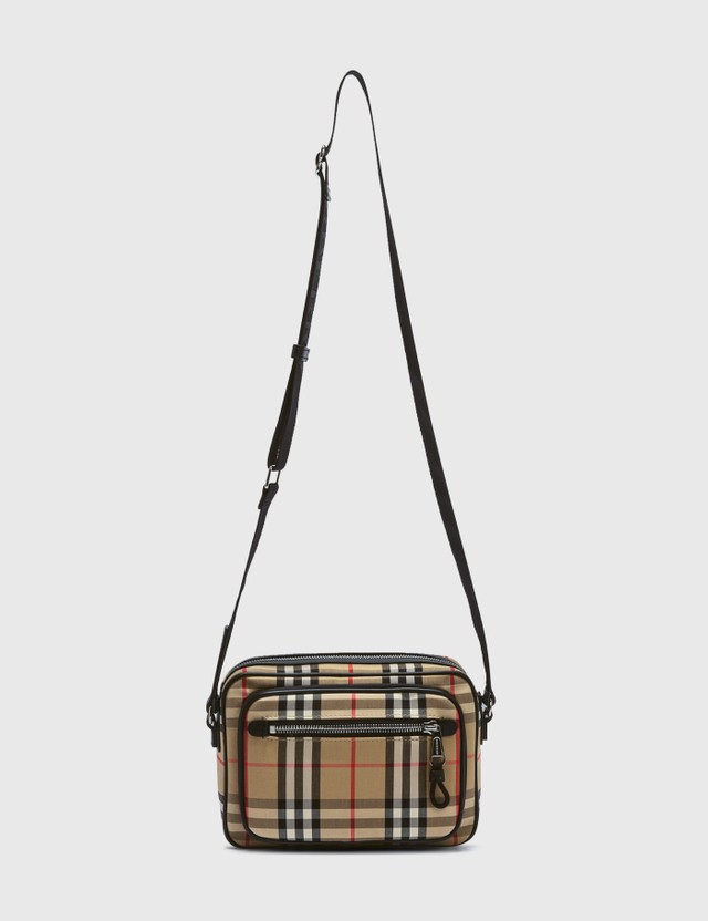 Burberry Vintage Check and Leather Crossbody Bag Archive Beige Men
