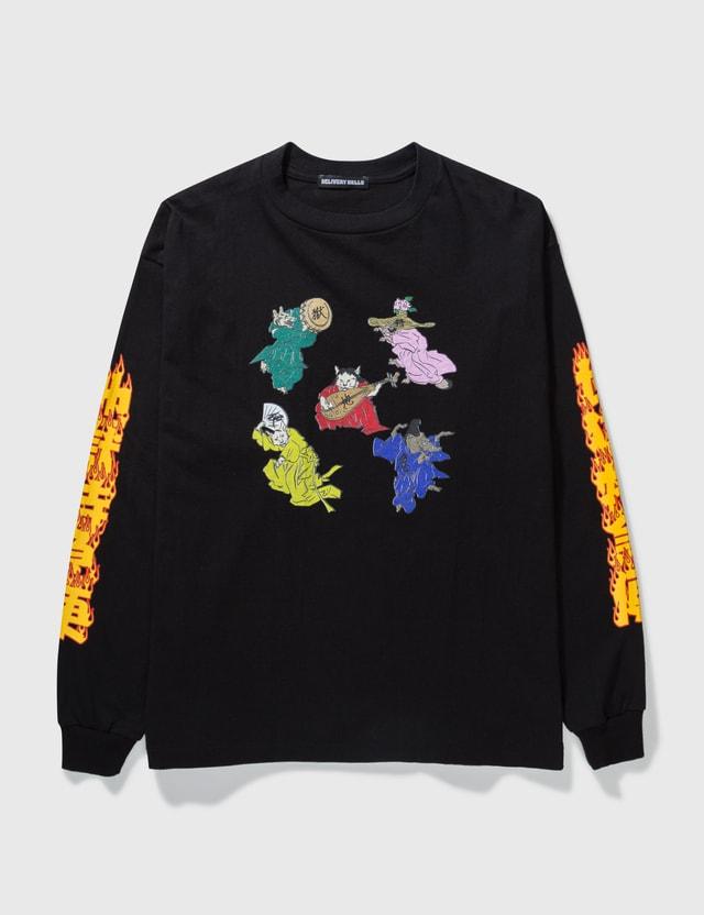 Flagstuff Cat Long Sleeve T-shirt Black Men