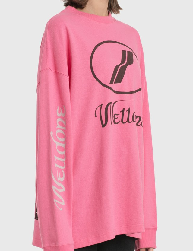 We11done We11done Print Logo Long Sleeve T-Shirt Pink Women
