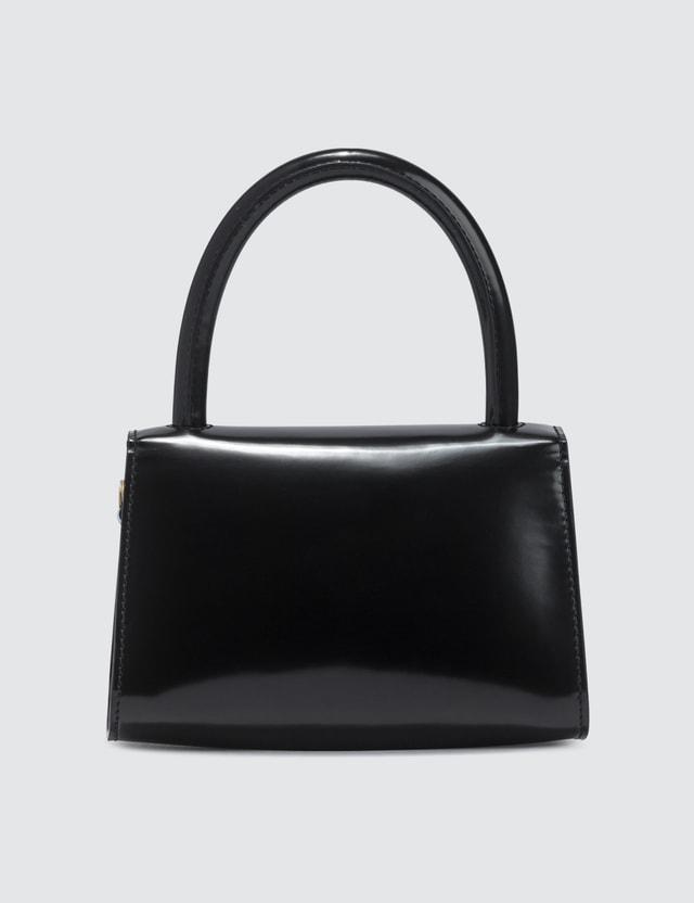 BY FAR Mini Black Semi Patent Leather Bag