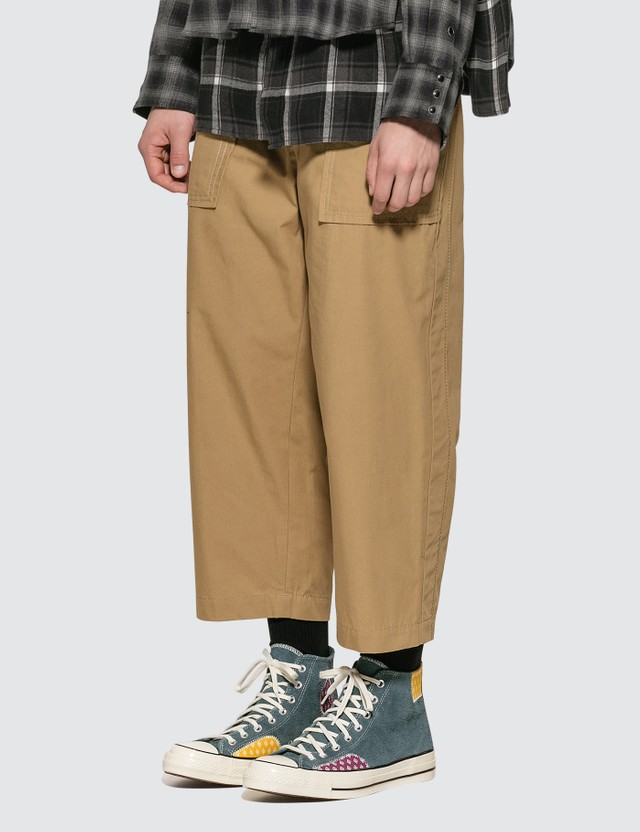 Sacai Fabric Combo Cropped Pants Beige 651 Men