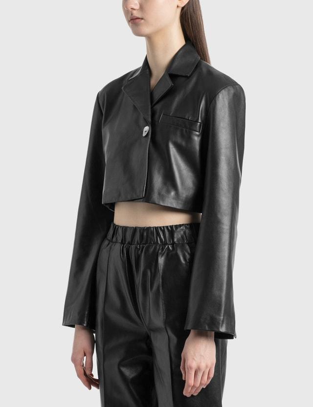 Ganni Cropped Leather Jacket Black Women