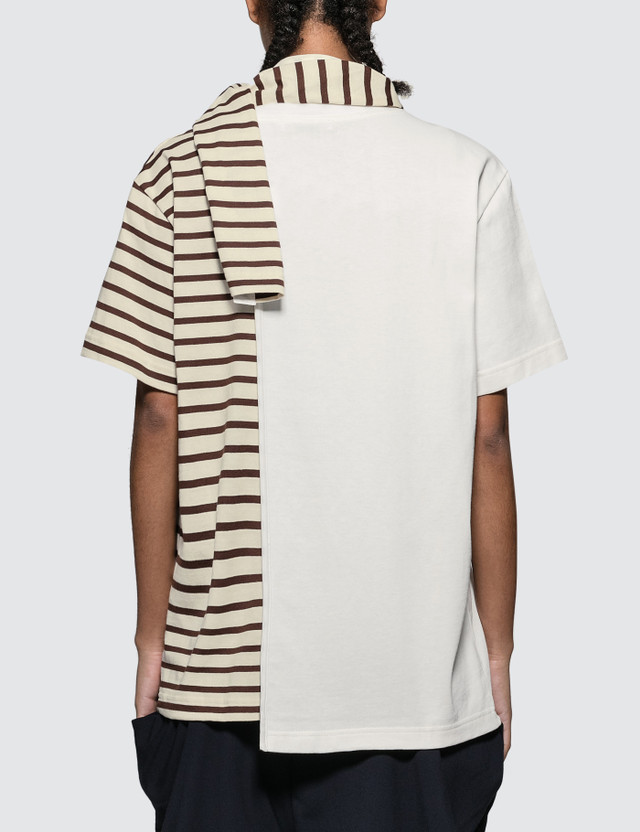 JW Anderson Striped Jersey Tee With Draped Scarf Chocolate Brown Women