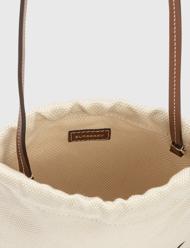 Burberry Small Horseferry Print Cotton Canvas Drawcord Pouch Tan/ Pink Women