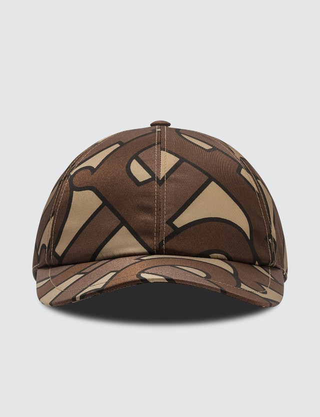 Burberry Monogram Print Baseball Cap Bridle Brown Ip Pttn Men