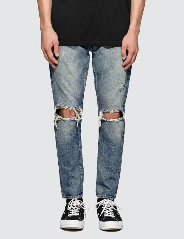 Denim By Vanquish & Fragment Knees Crash Tapered Denim Jeans