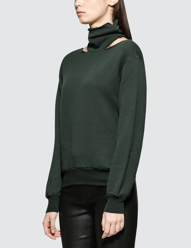Unravel Project Cot Cashmere Mock Neck Cut Dark Green Women