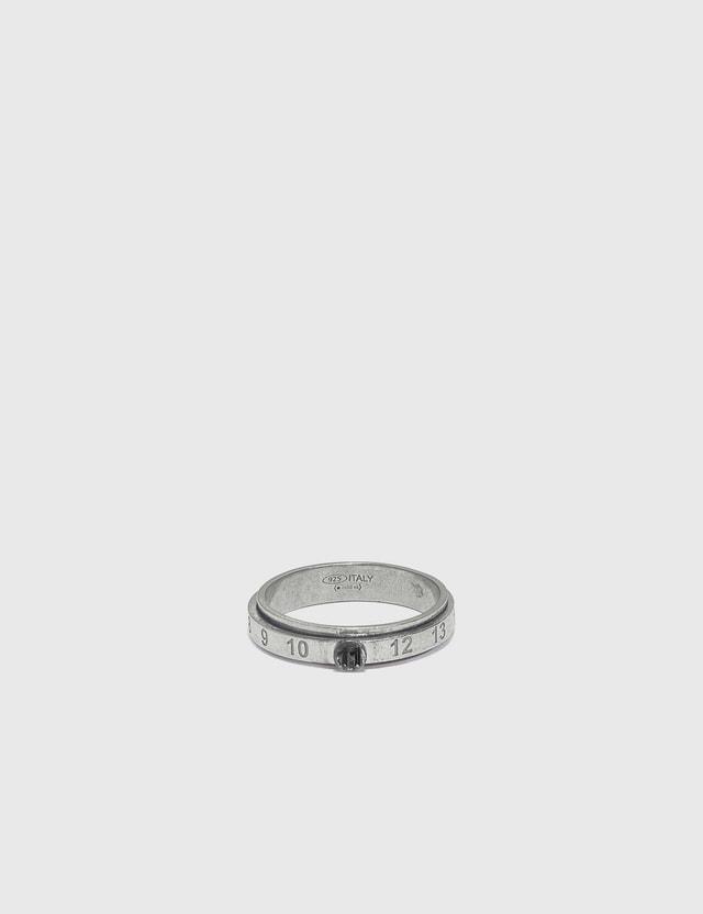 Maison Margiela Juxtaposed Slim Ring 969 Silver Burattato + Rutenio Men