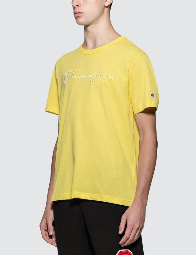 Champion Reverse Weave Script Logo Summer Seer S/S T-Shirt Yellow Men