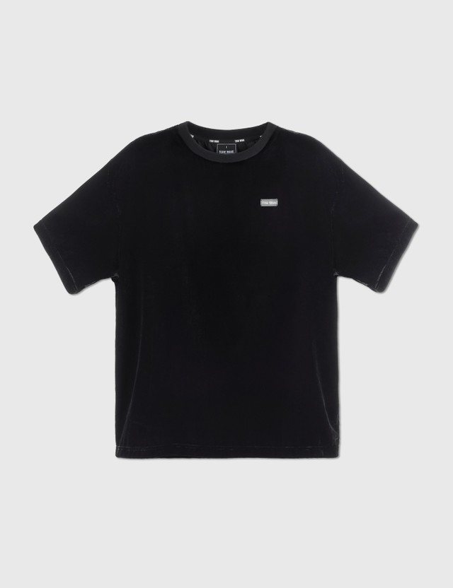 Team Wang Printed Logo Velvet T-shirt Black Men