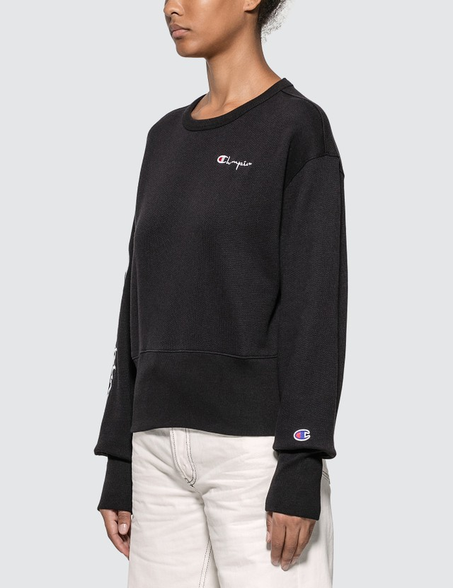 Champion Reverse Weave Big Sleeve Script Cropped Sweatshirt Black Women
