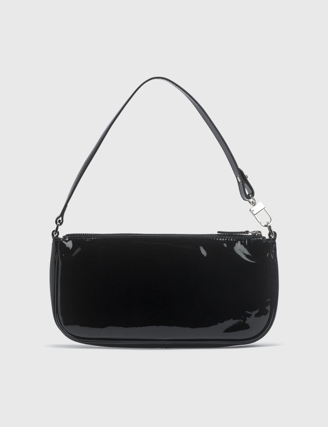 BY FAR Rachel Black Patent Leather Bag