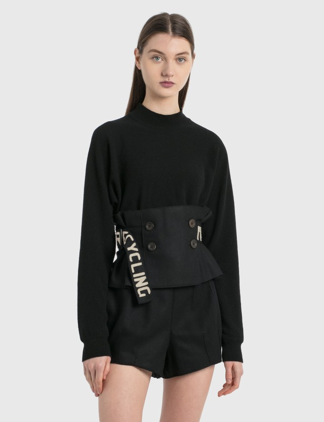 Emporio Armani R-EA Show Knitted Sweater With Ruffle Details Black Women