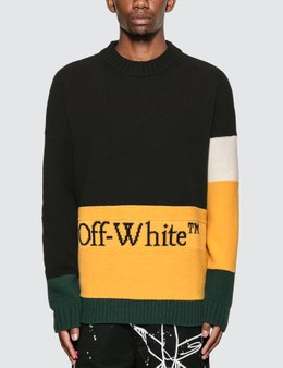 Off-White Color Block Crewneck Knitted Sweater