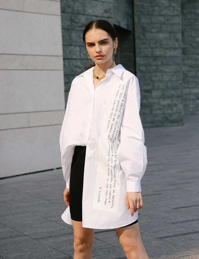 MM6 Maison Margiela Poplin Cotton Oversized Shirt White Women
