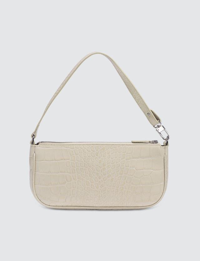 BY FAR Rachel Cream Croco Embossed Leather Bag
