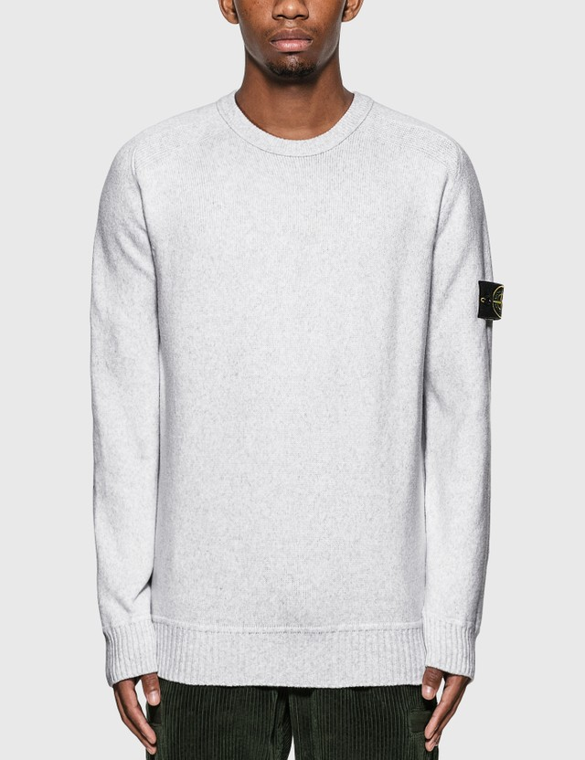 Stone Island Cotton Blend Compass Patch Logo Sweater Black Men