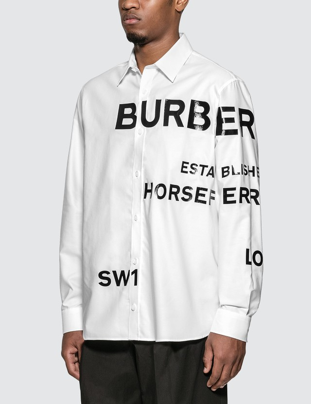 Burberry Horseferry Print Cotton Oxford Oversized Shirt
