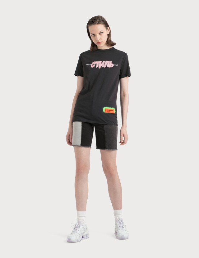 Heron Preston Contrast Panelled Denim Shorts
