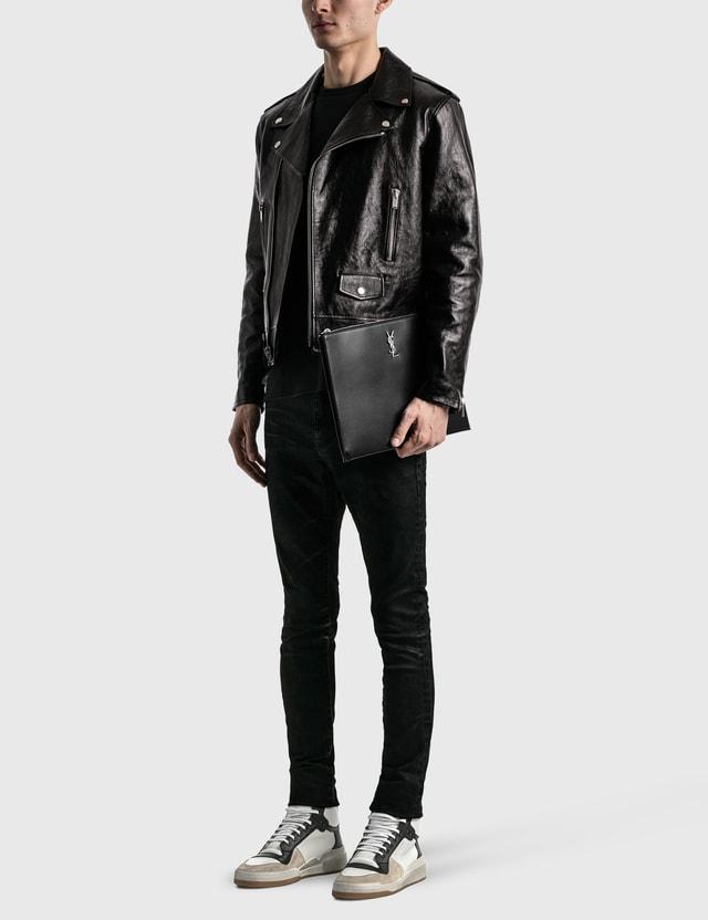 Saint Laurent YSL Monogram Leather Pouch Nero Men