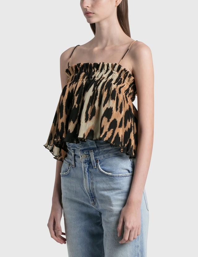 Ganni Pleated Georgette Strap Top Maxi Leopard Women