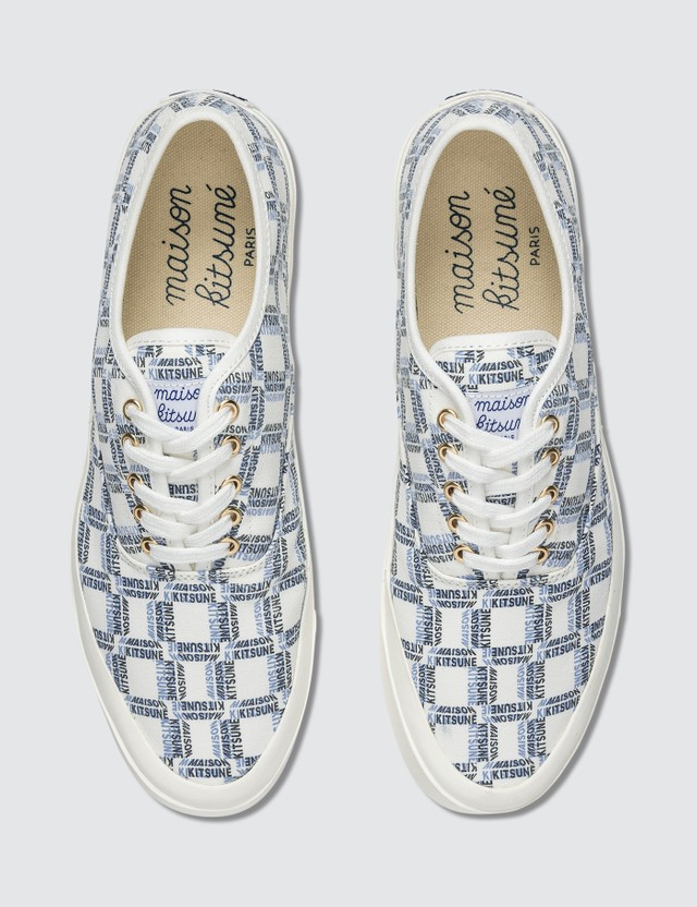 Maison Kitsune All-Over Rectangle Laced Canvas Sneaker
